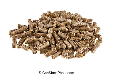 Granulated feed isolated on white background closeup