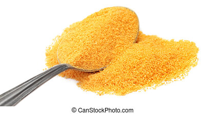 Granulated Vitamin C over white background