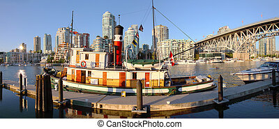 Granville island & Granville bridge at sunset BC Canada.