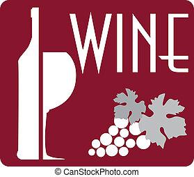 grap, logo, vinglas, flaska, vin