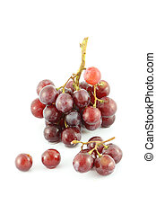 Grape and some fruit on white background.