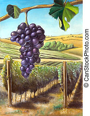 Grape and vineyard. Suitable for wine labels. My original...