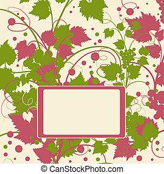 Grape background frame. Vector illustration.