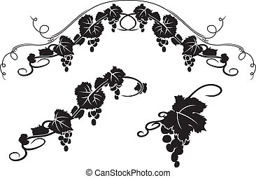 Grape decorative stencil elements set