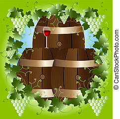in a green frame of the vine three barrels of wine and a glass of red wine