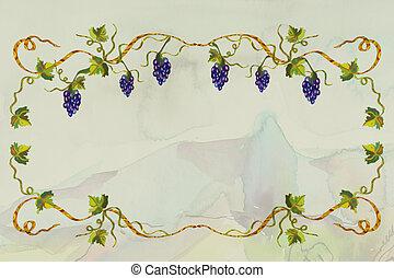 Grape frame background grunge card