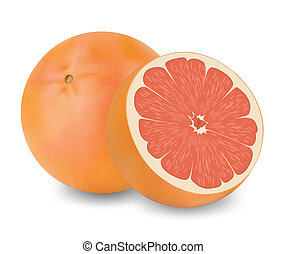 Grape fruit  - Two grapefruits on a white background