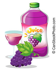Grape juice - Illustration of a grape juice on a white...