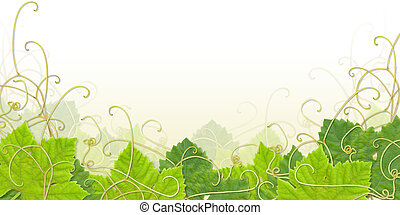 Grape leaves composite with paths - useful as footer or frame