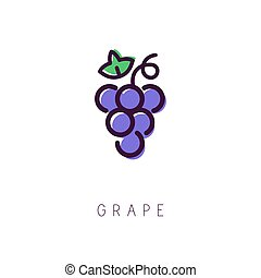 Grape logo. Line icon. Simple and clean style. Vector...