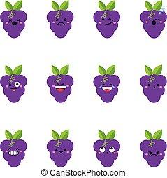 Grape modern flat emoticon set