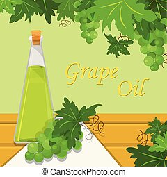 Grape oil, glass bottle of oil on the background of white grapes with branches and leaves vector Illustration design element for banner, poster