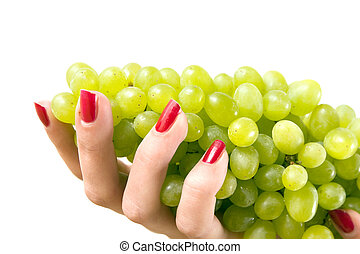 grape on a hand isolated