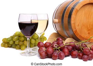 Grape on the barrel, glasses of wine