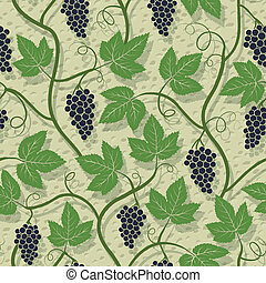 Grape, vine on wall growing seamless pattern