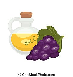 Grape seed oil in bottle. Vector flat isolated icon