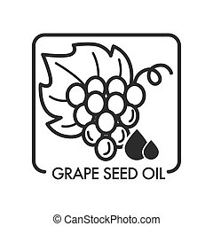 Grape seed oil, monochrome sketch outline isolated logo