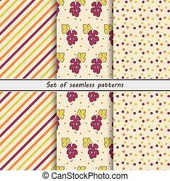 Grape, set of seamless patterns