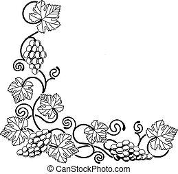 Grape vine design element - A grape vine corner background ...