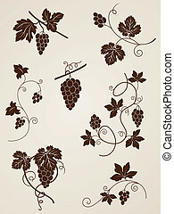 vector decorative grape vine elements for design