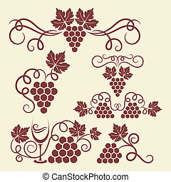 grape vine elements - Decorative grape vine elements for...