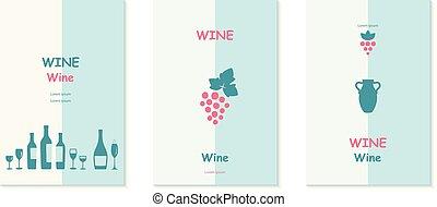 Grape vines decorative elements set.