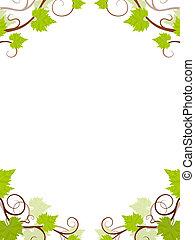 Grape vines frame. Vector illustration.