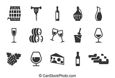 grape wine icons set
