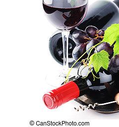 grape wino, butelki, czerwony, świeży