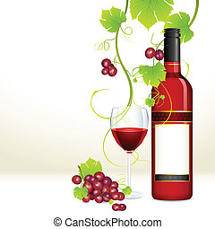 illustration of red grape with bottle of red wine and glass full of wine