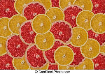grapefruit and orange background.