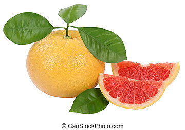 Grapefruit fruit isolated on white