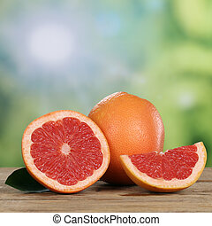 Grapefruit fruits in summer