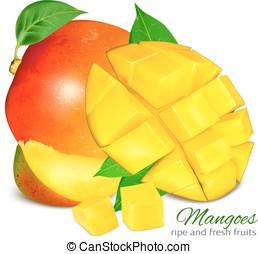 grapefruit, geheel, leaves., rijp