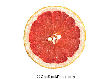 Closeup of a grapefruit half on a white background