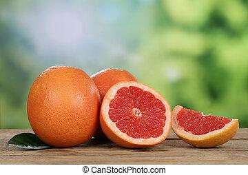 Grapefruit in summer with copyspace