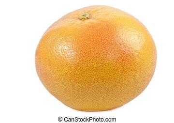 Single grapefruit - isolated on white background