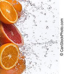 grapefruit, met, water, gespetter