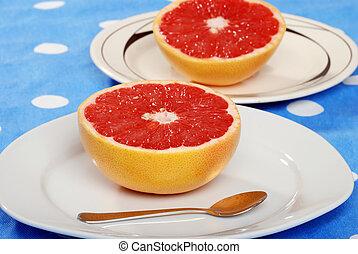 grapefruit on a plate