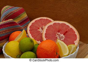 Grapefruit, orange, lemon, lime