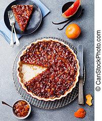 Grapefruit, orange, lemon tart, crumble in dish