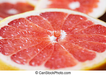 grapefruit bright red and cut by segments