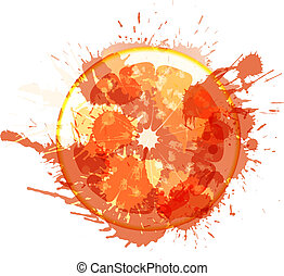 Grapefruit slice made of colorful splashes on white background