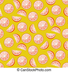 Grapefruit slices on yellow background. Citrus seamless vector pattern.