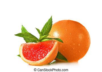 grapefruit - Water splash on grapefruit with mint isolated...