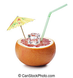 grapefruit cocktail concept on white background