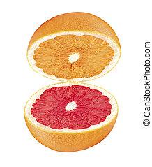 grapefruit, vrijstaand, helft