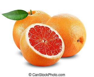 Grapefruit with slice and leaf on white background