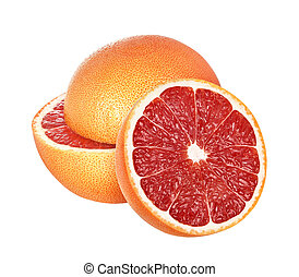 grapefruits isolated on white background, with clipping path