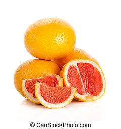 grapefruits., toronja, aislado, plano de fondo, blanco